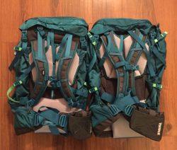 Thule Versant 50L pack and Thule Versant 60L pack comparison; Thule Versant 70L backpack is not shown