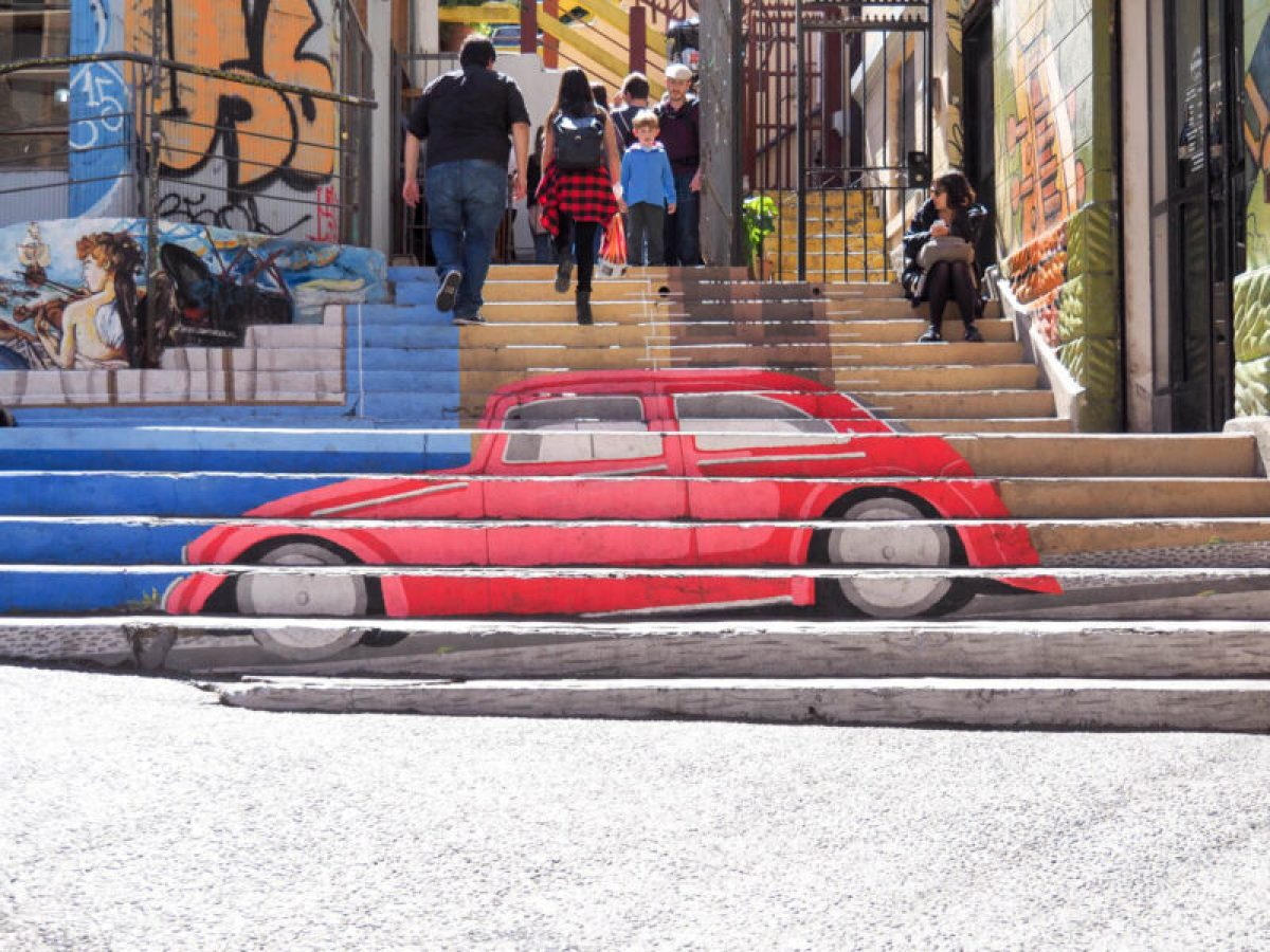 stair mural at the entrance to a funicular, Valparaiso