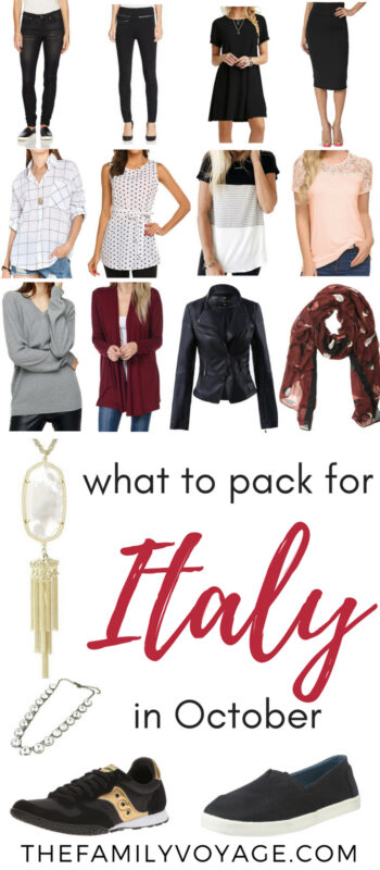 Are you visiting Italy this fall? Click to find your complete packing list for Italy in October... from clothes to shoes to purses and more! We'll help you figure out what to wear in Rome, what to pack for Venice, and everything in between. SAVE this pin for later, and then click over for all the details now. #Italy #packinglist #travel #autumn #fall #capsulewardrobe #Rome #Venice #Tuscany #packing