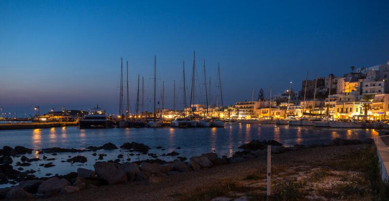 Naxos, Greece harbor at twilight #Naxos #Greece #boats