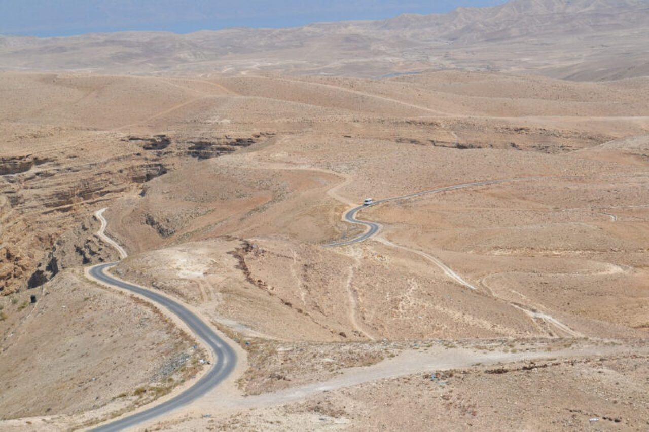 Highway through the Negev Desert in Israel. #Israel #Negev #SouthernIsrael #Desert