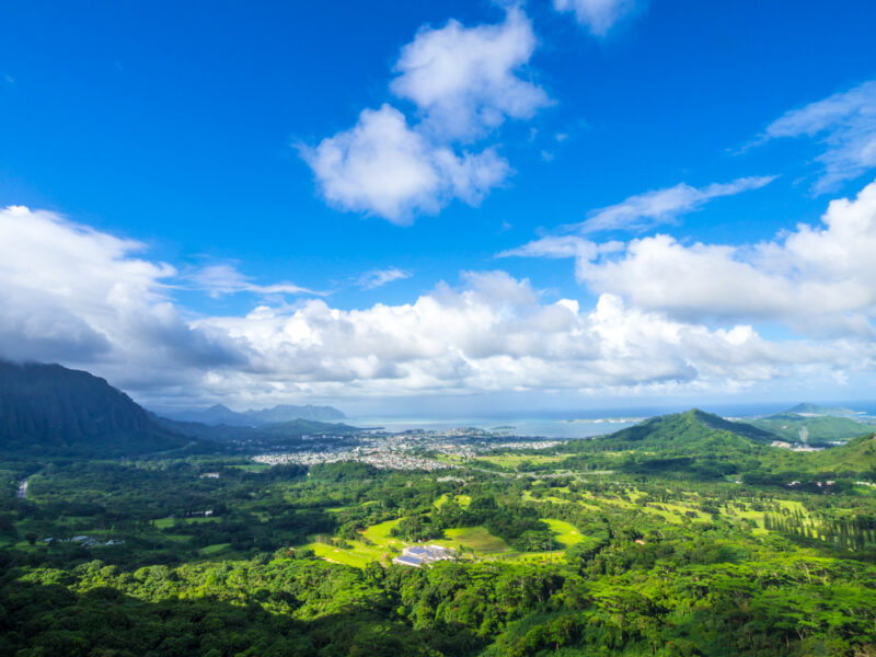 View of Windward Coast, Oahu, Hawaii from Pali Lookout