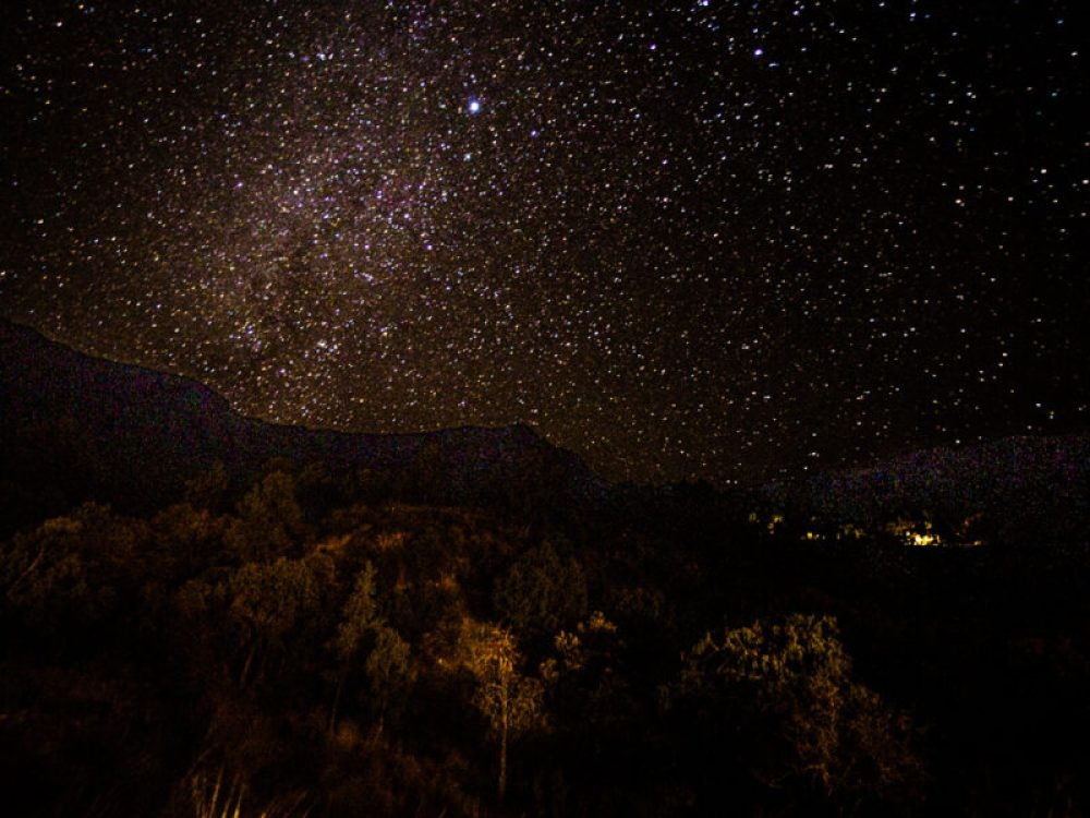 Starry night sky in Chisos Basin at Big Bend National Park, Texas
