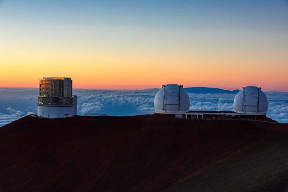 Mauna Kea Observatories Sunset - twin Keck Telescopes
