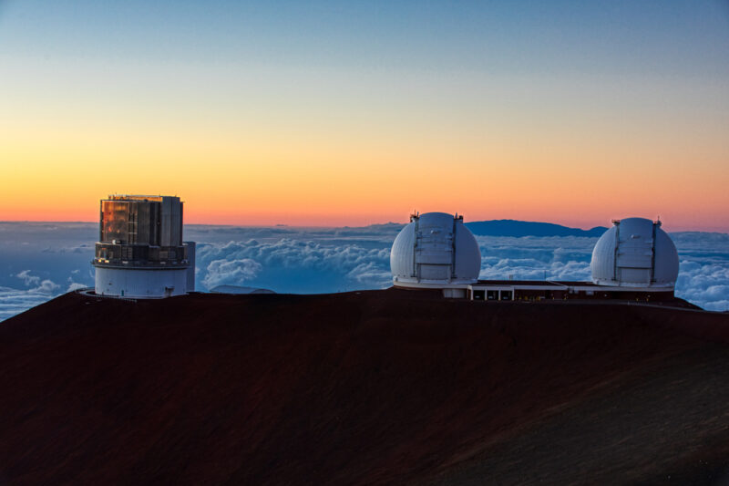 Mauna Kea Observatories Sunset - twin Keck Telescopes