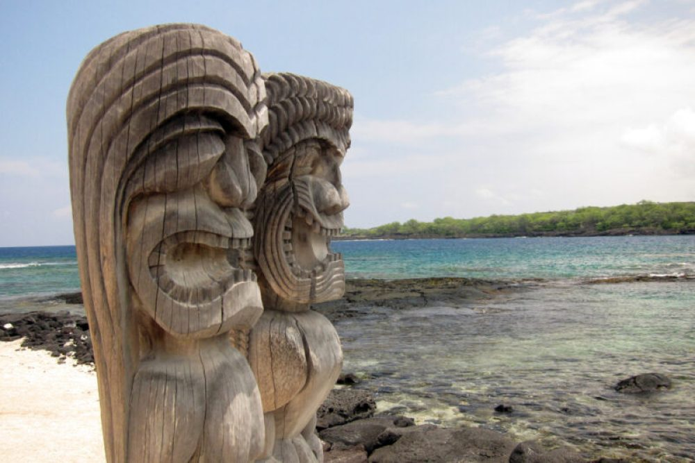 Sacred Statue in the City of Refuge at the Pu'uhonua o Honaunau National Park in Hawaii