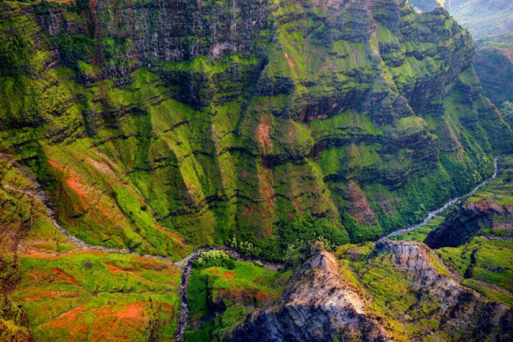 Stunning aerial view into Waimea Canyon, Kauai, Hawaii