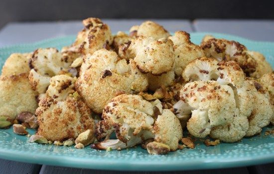 Spice roasted cauliflower with pistachio crumb