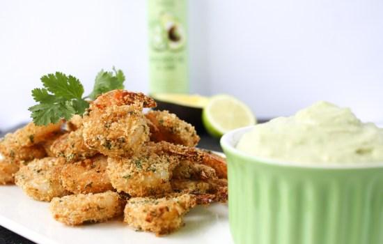 Crispy prawns with avocado lime aioli