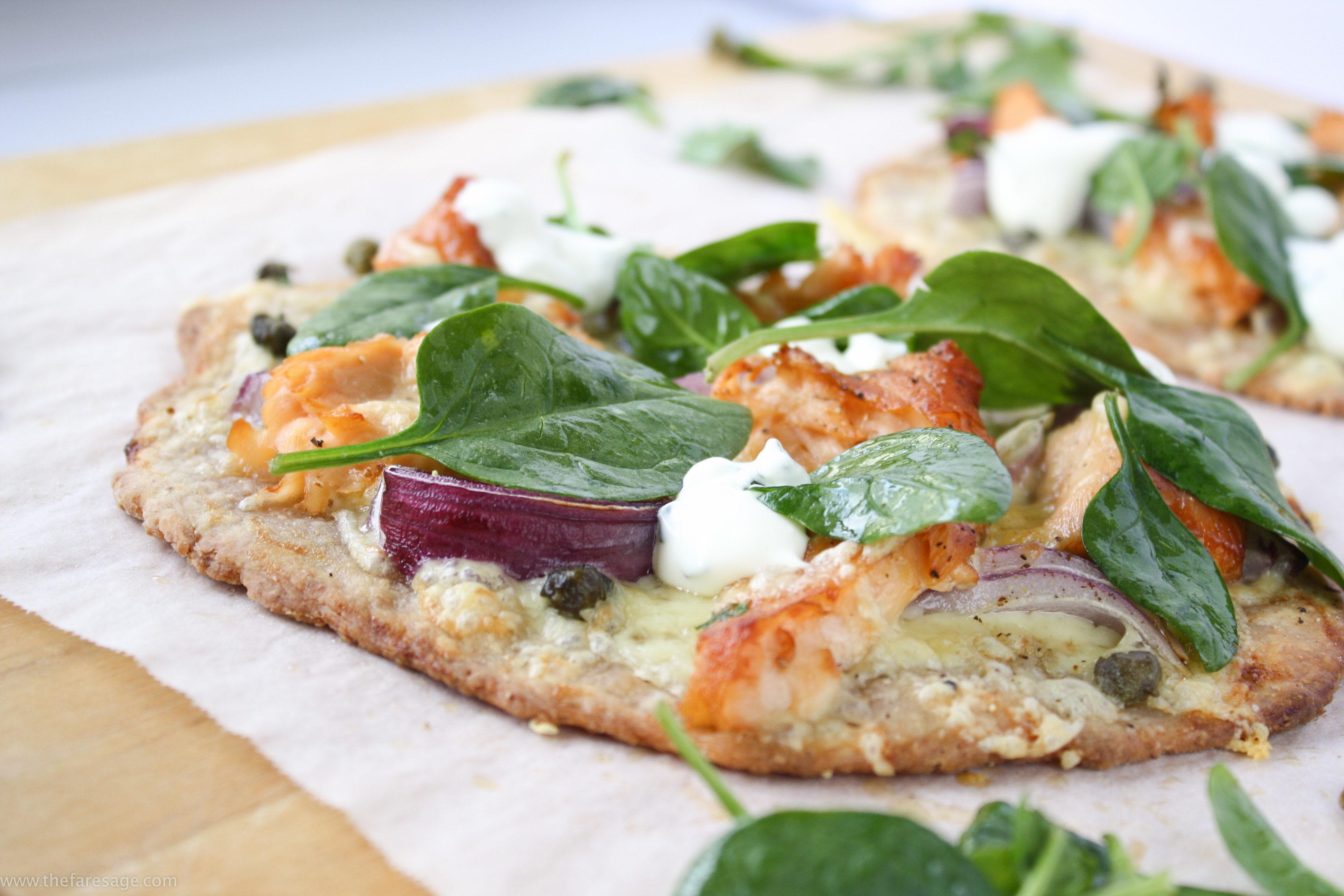 Flatbread with smoked salmon and capers