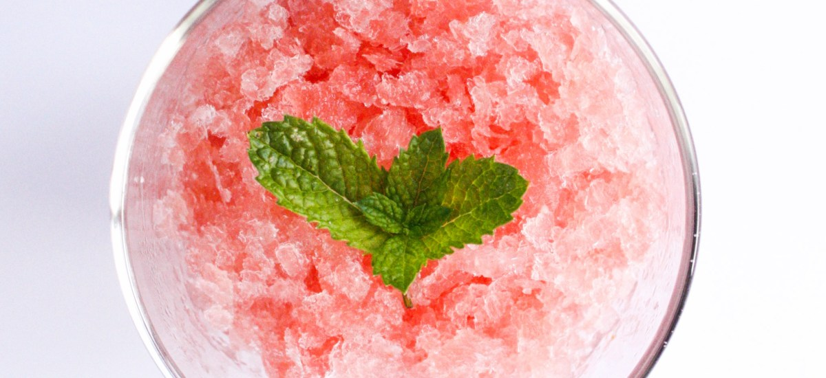 Watermelon granita with a hint of mint