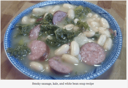 Smokey Sausage, Kale, and White Bean Soup
