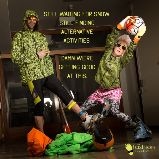 "The Fashion Bandit Arctic Bandit Sindre Solvin and Benedikte St.Pierre are having fun playing ""football"" inside whilst waiting for the snow to fall and they can go skiing..."