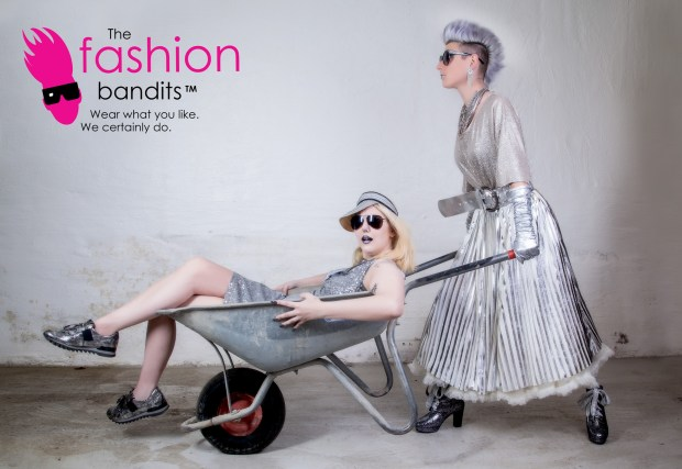 The Fashion Bandits going for silver - in a wheelbarrow