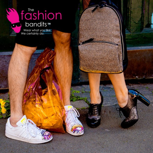 The Fashion Bandits. On the move: shoes and bags.