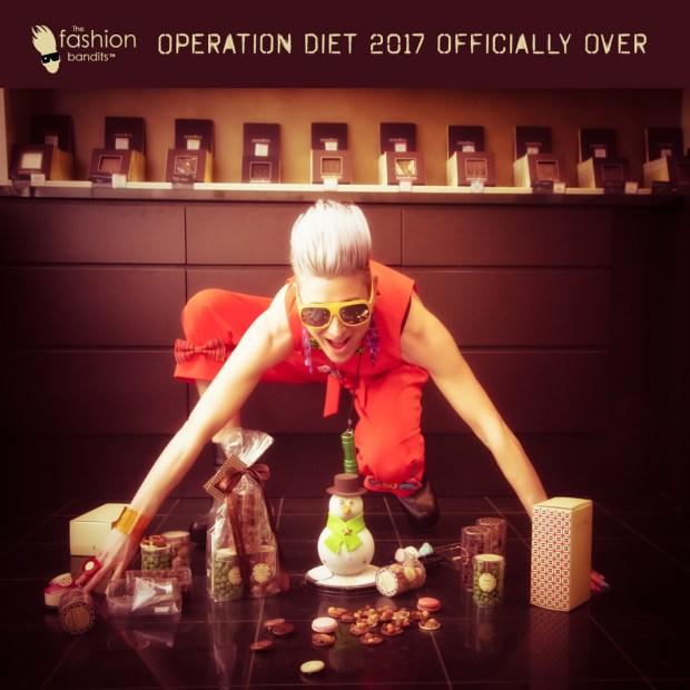 Benedikte St.Pierre of The Fashion Bandits is guarding her pile of chocolates