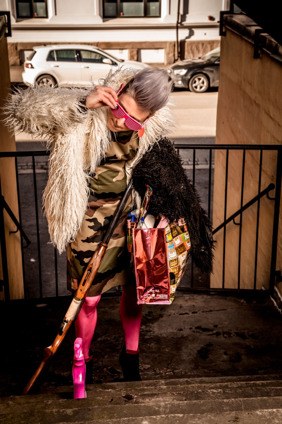 The Fashion Bandit Benedikte St.Pierre is done with cleaning her shotgun