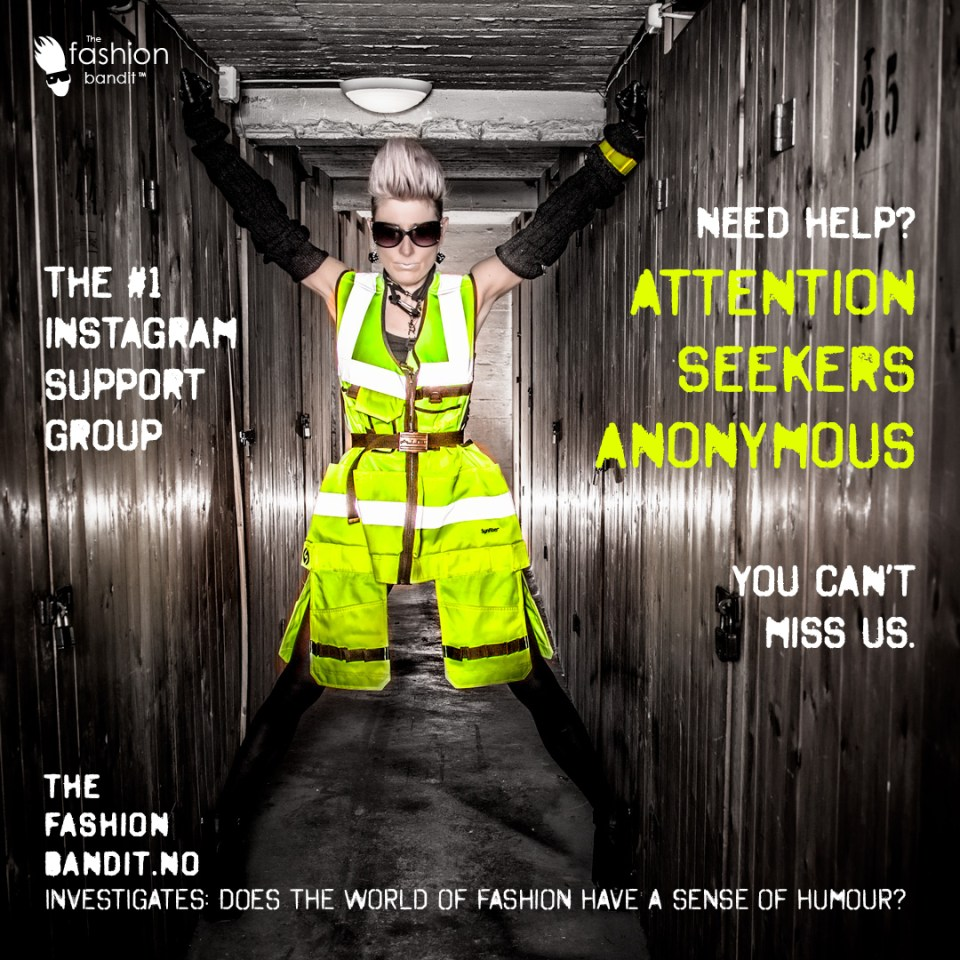 The Fashion Bandit Benedikte St.Pierre in a highly fluorescent, reflective dress...