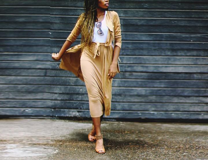 What I Wore: Camel cardigan + Camel skirt