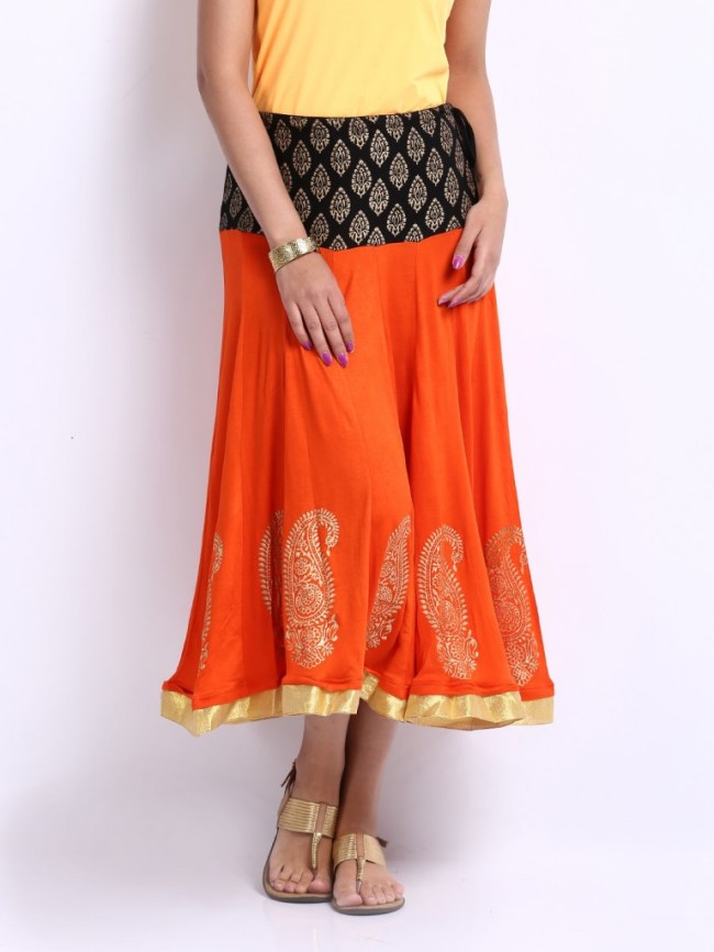 Ira Soleil Orange Printed Hipster Skirt