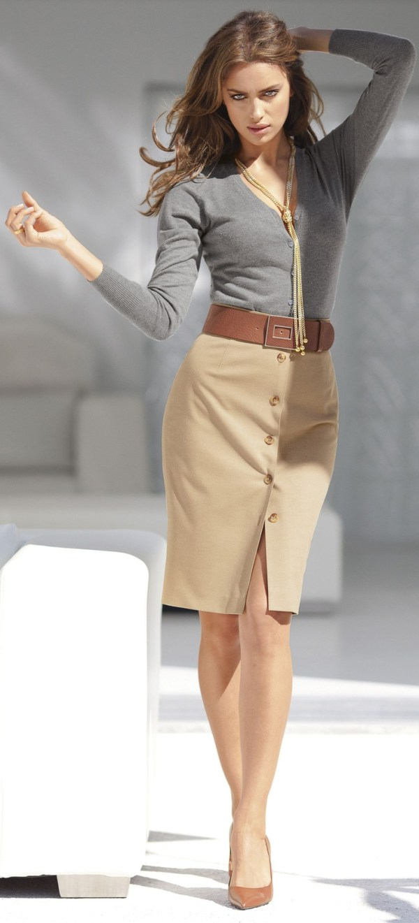 gray-top-and-beige-skirt