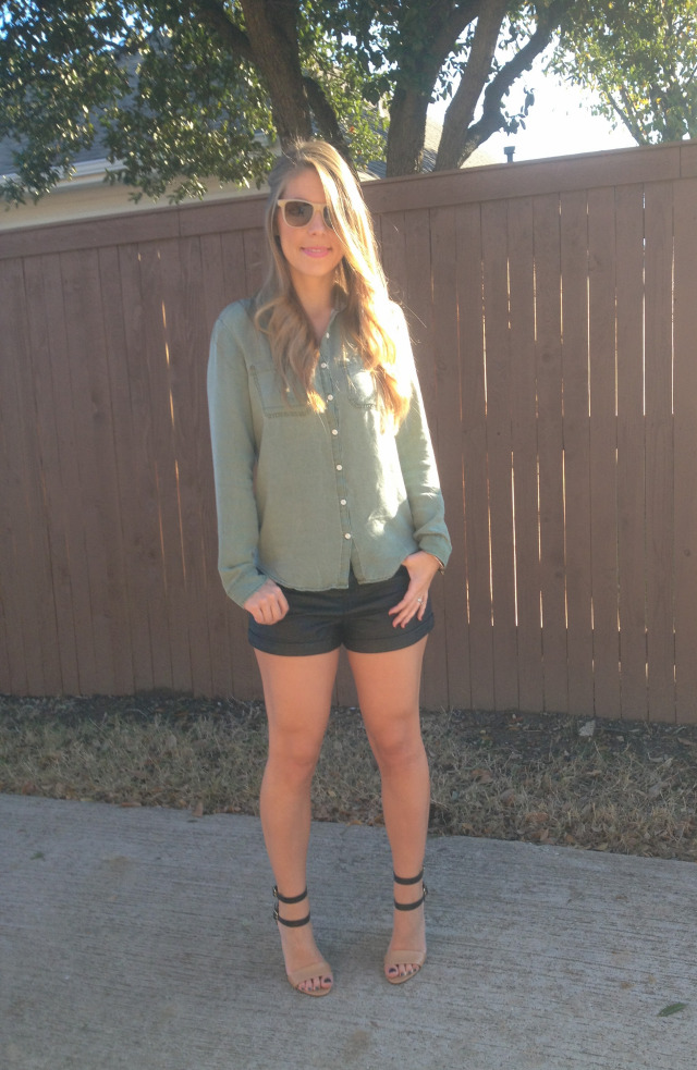 Army Green Button down Leather Shorts