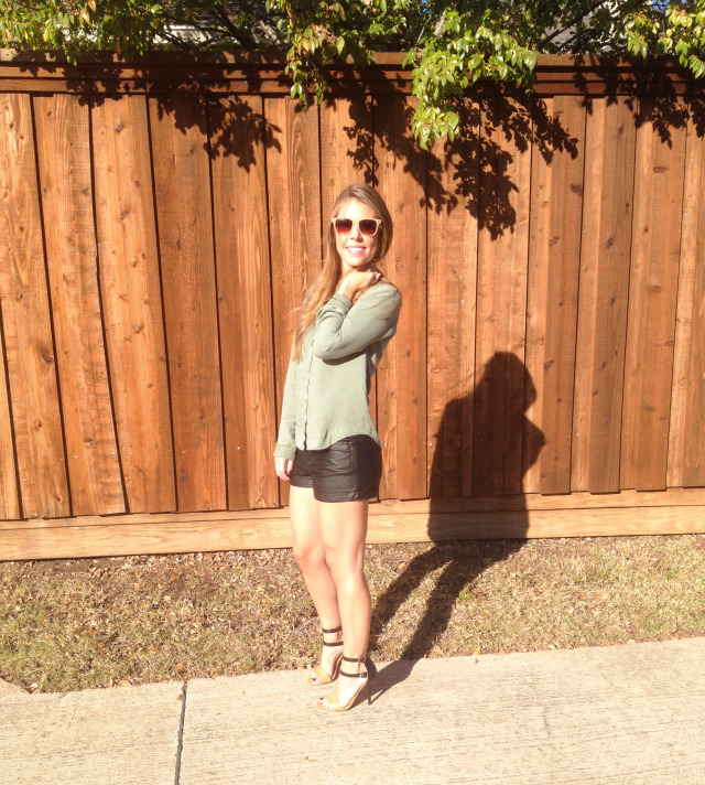 Army Green Shirt Black Leather Shorts Strappy Heels
