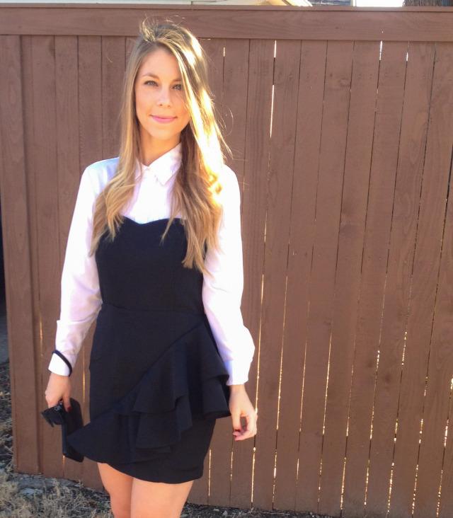 H&M Black Dress White Blouse Olivia Palermo Inspired