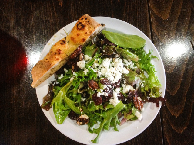 Mixed Greens, Goat Cheese, Candied Pecans, and Dried Cherries, with our  Homemade Balsamic Vinegarette