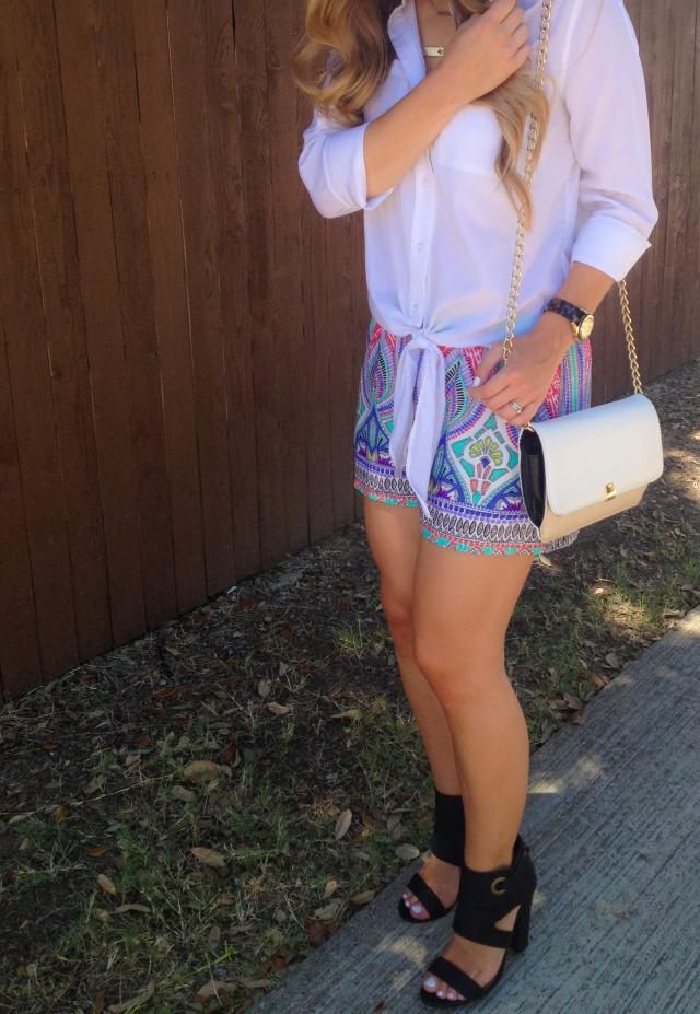 Bright Print Shorts Black Strappy Heels