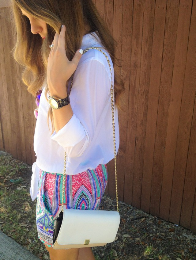 Bright Print Shorts with White Blouse Forever 21 Purse