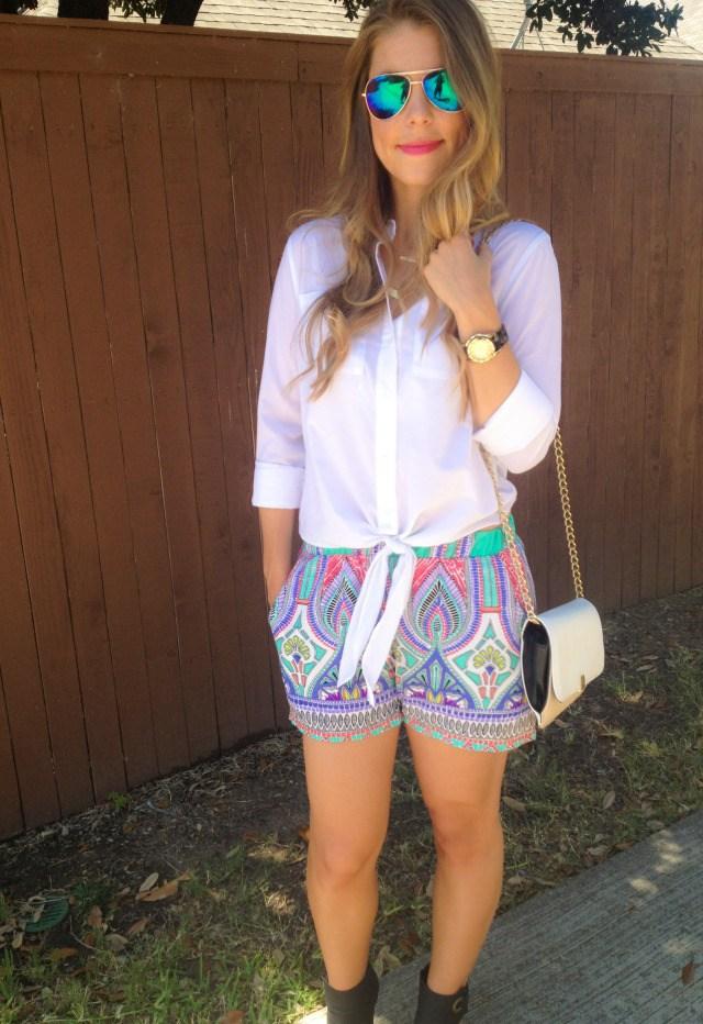 Katydid Moroccan Shorts White Blouse DSW Heels