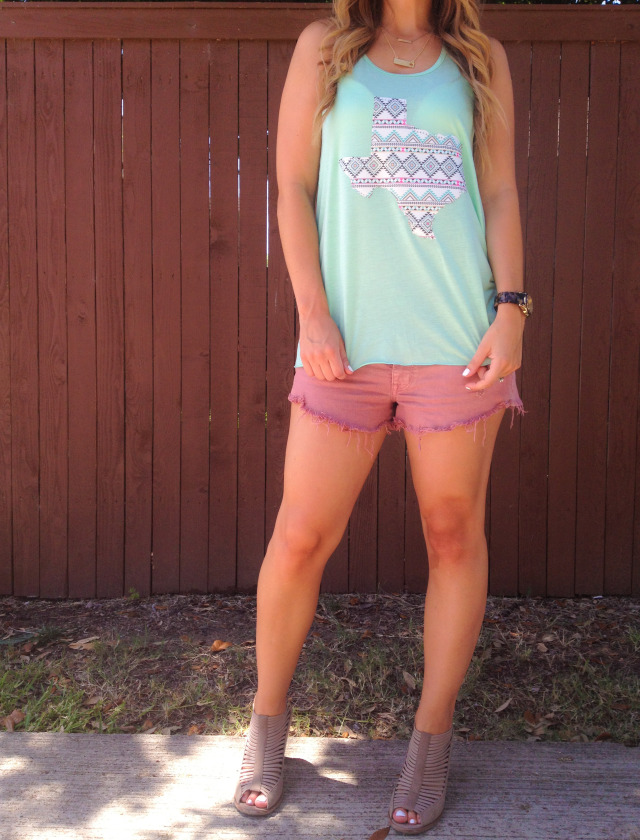 Mint Texas Tank Top Cut Off Shorts