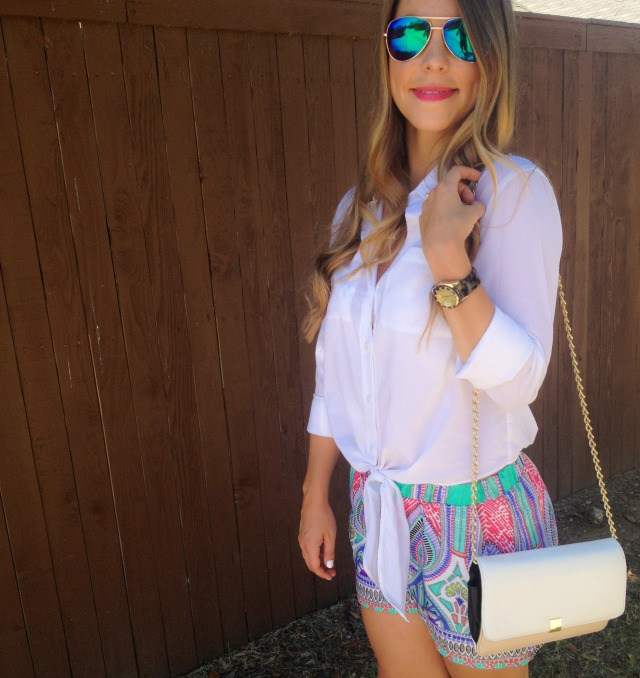White Blouse Colorful Shorts Summer Style Blog