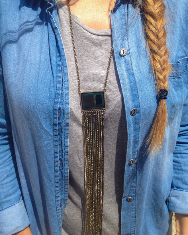 Fishtail Braid and Fringe Necklace