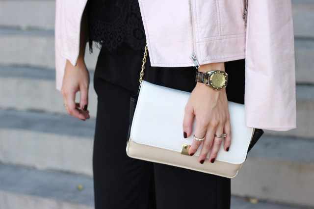 All Black Outfit with Pop of Light Pink