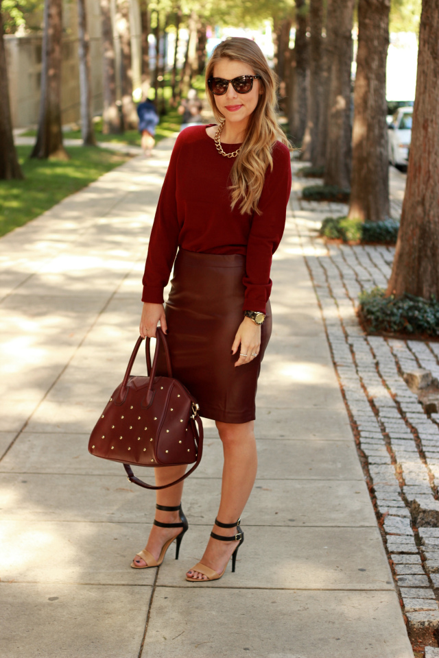 Monochromatic fashion forever 21 oxblood outfit