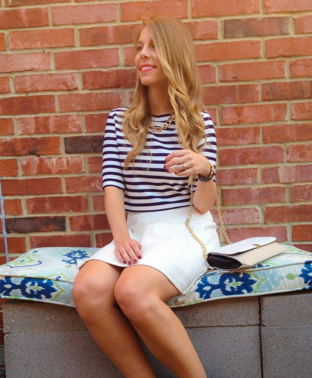 Striped Crop Top H&M White Leather Skirt Kensie