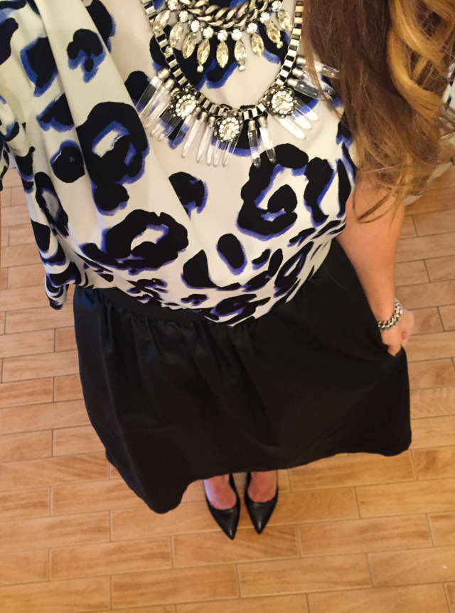 Animal Print Blouse Statement Necklace and Midi Skirt