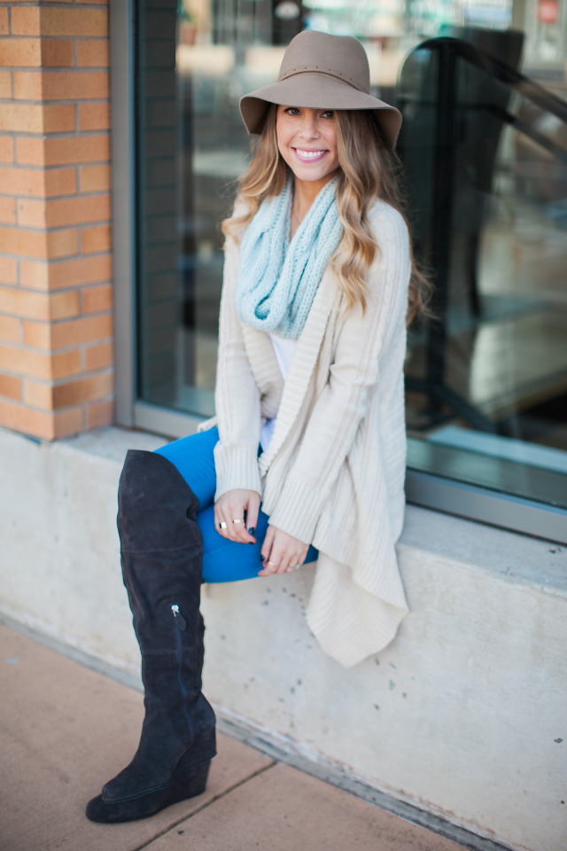 Cable Knit Cardigan with Scarf and Hat