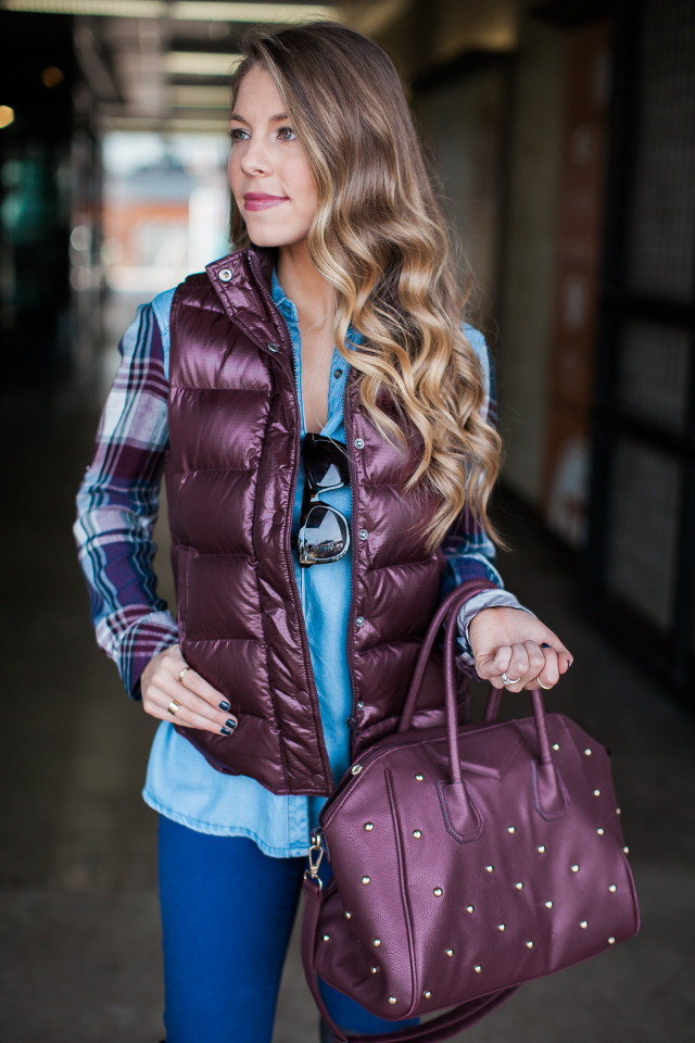 The Fashion Hour Burgundy Puffer Vest