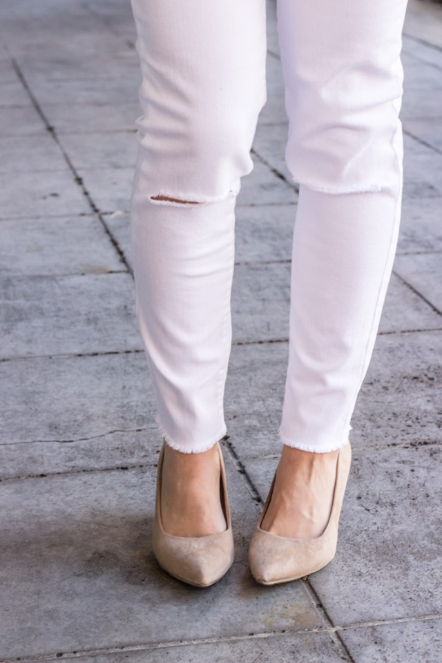 Tan suede pumps with ripped skinny jeans