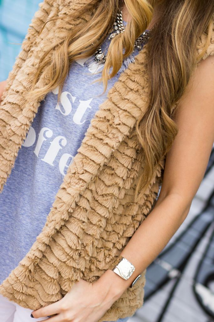 Fur Vest with statement necklace