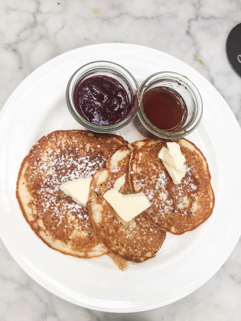 Cecconis Pancakes with Blueberry Compote