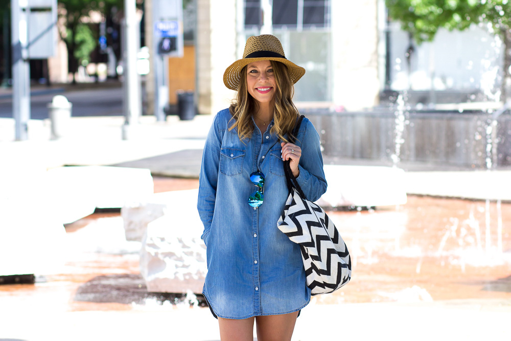 Denim Dress and Woven Hat