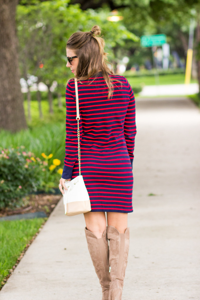 Red and Navy Striped Sweater Dress
