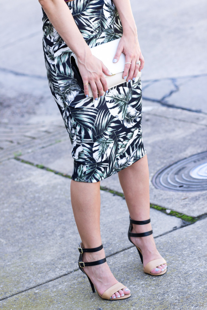Palm Print Skirt and Gold Rings
