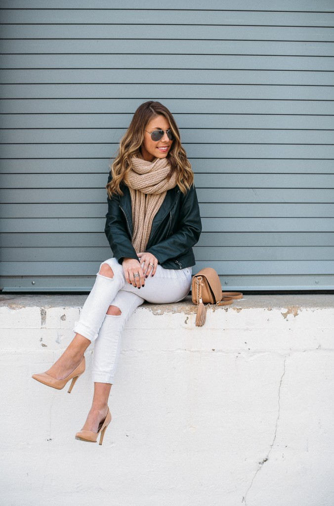 faux leather moto jacket and scarf