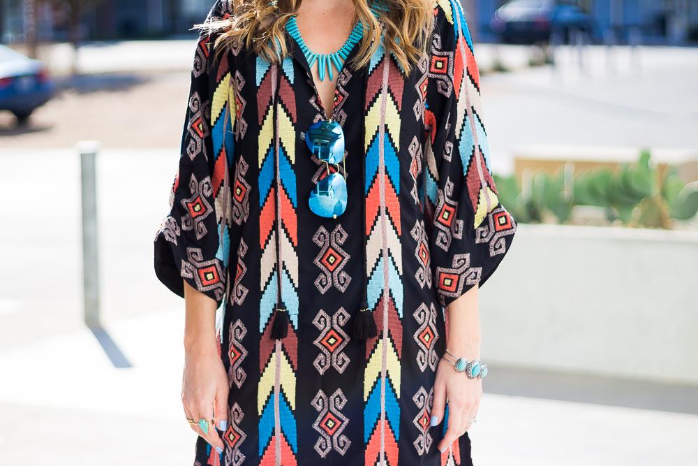 tribal print tassel dress