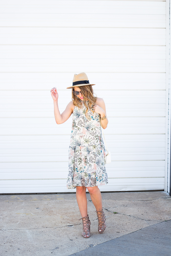 Open Back Floral Dress with wide brim fedora